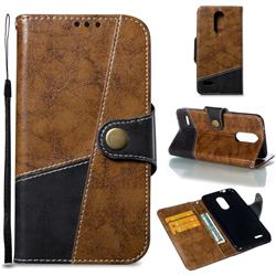 Retro Magnetic Stitching Wallet Flip Cover for LG K8 (2018) - Brown
