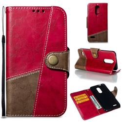 Retro Magnetic Stitching Wallet Flip Cover for LG K8 (2018) - Rose Red