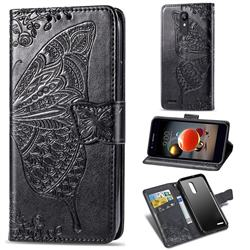 Embossing Mandala Flower Butterfly Leather Wallet Case for LG K8 (2018) - Black