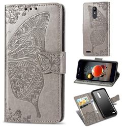 Embossing Mandala Flower Butterfly Leather Wallet Case for LG K8 (2018) - Gray