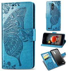 Embossing Mandala Flower Butterfly Leather Wallet Case for LG K8 (2018) - Blue