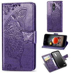 Embossing Mandala Flower Butterfly Leather Wallet Case for LG K8 (2018) - Dark Purple