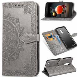 Embossing Imprint Mandala Flower Leather Wallet Case for LG K8 (2018) - Gray