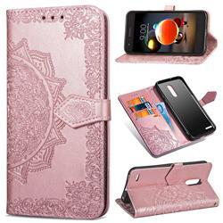 Embossing Imprint Mandala Flower Leather Wallet Case for LG K8 (2018) - Rose Gold
