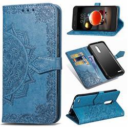 Embossing Imprint Mandala Flower Leather Wallet Case for LG K8 (2018) - Blue
