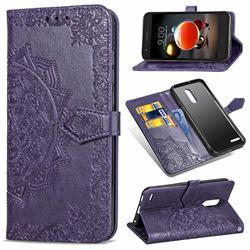 Embossing Imprint Mandala Flower Leather Wallet Case for LG K8 (2018) - Purple