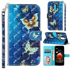 Rankine Butterfly 3D Leather Phone Holster Wallet Case for LG K8 (2018)