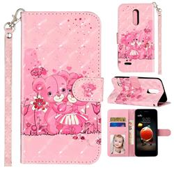 Pink Bear 3D Leather Phone Holster Wallet Case for LG K8 (2018)
