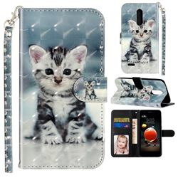 Kitten Cat 3D Leather Phone Holster Wallet Case for LG K8 (2018)