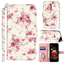 Rambler Rose Flower 3D Leather Phone Holster Wallet Case for LG K8 (2018)