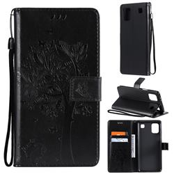 Embossing Butterfly Tree Leather Wallet Case for LG K92 5G - Black