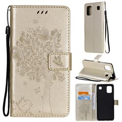 Embossing Butterfly Tree Leather Wallet Case for LG K92 5G - Champagne