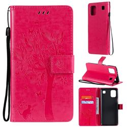 Embossing Butterfly Tree Leather Wallet Case for LG K92 5G - Rose