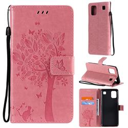 Embossing Butterfly Tree Leather Wallet Case for LG K92 5G - Pink