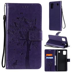 Embossing Butterfly Tree Leather Wallet Case for LG K92 5G - Purple
