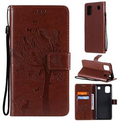 Embossing Butterfly Tree Leather Wallet Case for LG K92 5G - Coffee