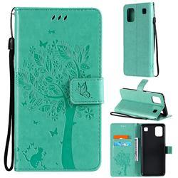 Embossing Butterfly Tree Leather Wallet Case for LG K92 5G - Cyan
