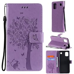 Embossing Butterfly Tree Leather Wallet Case for LG K92 5G - Violet