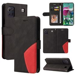 Luxury Two-color Stitching Leather Wallet Case Cover for LG K92 5G - Black
