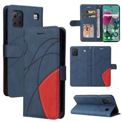 Luxury Two-color Stitching Leather Wallet Case Cover for LG K92 5G - Blue
