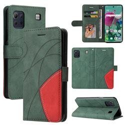 Luxury Two-color Stitching Leather Wallet Case Cover for LG K92 5G - Green