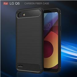 Luxury Carbon Fiber Brushed Wire Drawing Silicone TPU Back Cover for LG Q6 (LG G6 Mini) (Black)