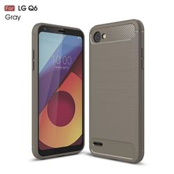 Luxury Carbon Fiber Brushed Wire Drawing Silicone TPU Back Cover for LG Q6 (LG G6 Mini) (Gray)