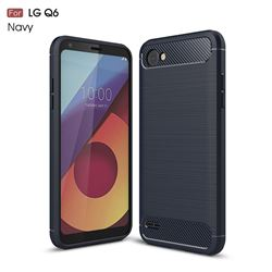Luxury Carbon Fiber Brushed Wire Drawing Silicone TPU Back Cover for LG Q6 (LG G6 Mini) (Navy)