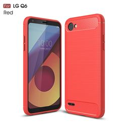 Luxury Carbon Fiber Brushed Wire Drawing Silicone TPU Back Cover for LG Q6 (LG G6 Mini) (Red)