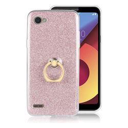 Luxury Soft TPU Glitter Back Ring Cover with 360 Rotate Finger Holder Buckle for LG Q6 (LG G6 Mini) - Pink