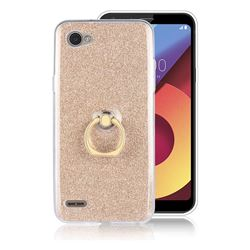Luxury Soft TPU Glitter Back Ring Cover with 360 Rotate Finger Holder Buckle for LG Q6 (LG G6 Mini) - Golden