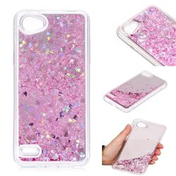 Glitter Sand Mirror Quicksand Dynamic Liquid Star TPU Case for LG Q6 (LG G6 Mini) - Cherry Pink
