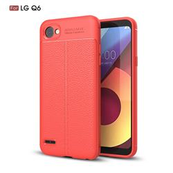 Luxury Auto Focus Litchi Texture Silicone TPU Back Cover for LG Q6 (LG G6 Mini) - Red