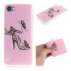 Butterfly High Heels IMD Soft TPU Cell Phone Back Cover for LG Q6 (LG G6 Mini)