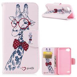 Glasses Giraffe Leather Wallet Case for LG Q6 (LG G6 Mini)