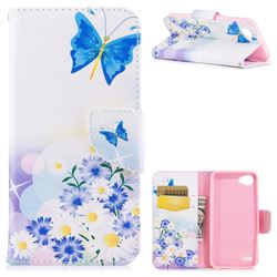 Butterflies Flowers Leather Wallet Case for LG Q6 (LG G6 Mini)