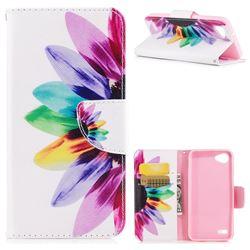 Seven-color Flowers Leather Wallet Case for LG Q6 (LG G6 Mini)