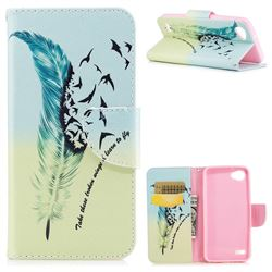 Feather Bird Leather Wallet Case for LG Q6 (LG G6 Mini)