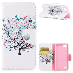 Colorful Tree Leather Wallet Case for LG Q6 (LG G6 Mini)