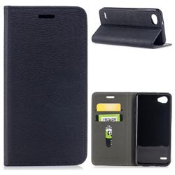 Tree Bark Pattern Automatic suction Leather Wallet Case for LG Q6 (LG G6 Mini) - Black