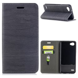Tree Bark Pattern Automatic suction Leather Wallet Case for LG Q6 (LG G6 Mini) - Gray