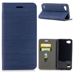Tree Bark Pattern Automatic suction Leather Wallet Case for LG Q6 (LG G6 Mini) - Blue
