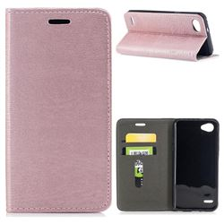 Tree Bark Pattern Automatic suction Leather Wallet Case for LG Q6 (LG G6 Mini) - Rose Gold