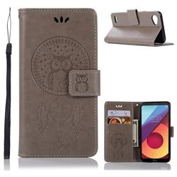 Intricate Embossing Owl Campanula Leather Wallet Case for LG Q6 (LG G6 Mini) - Grey