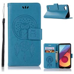 Intricate Embossing Owl Campanula Leather Wallet Case for LG Q6 (LG G6 Mini) - Blue