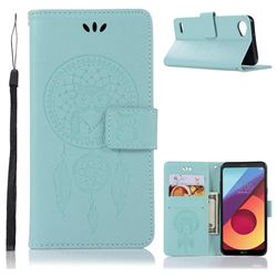 Intricate Embossing Owl Campanula Leather Wallet Case for LG Q6 (LG G6 Mini) - Green