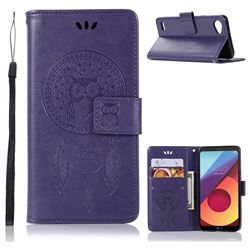 Intricate Embossing Owl Campanula Leather Wallet Case for LG Q6 (LG G6 Mini) - Purple