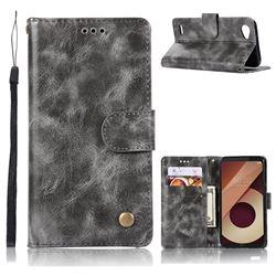 Luxury Retro Leather Wallet Case for LG Q6 (LG G6 Mini) - Gray
