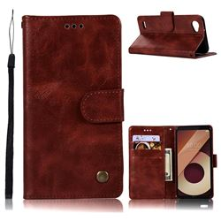 Luxury Retro Leather Wallet Case for LG Q6 (LG G6 Mini) - Wine Red