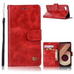 Luxury Retro Leather Wallet Case for LG Q6 (LG G6 Mini) - Red